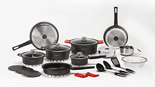 NEWCHEF Batería de Cocina de Aluminio Fundido, 27 piezas, Juego de Utensilios de Cocina Antiadherentes...