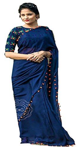 Sarees ( Blue Color GEORGET, BENGLORI SILK Fabric Heavy Work Saree, New...