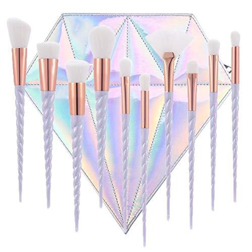 10PCS Unicorn pinceau de maquillage Ensemble fard à joues Fondation brosse professionnelle Kits poudre liquide crème cosmétiques Blending outil Pinceau avec sac de diamant Organizer (Light Purple)
