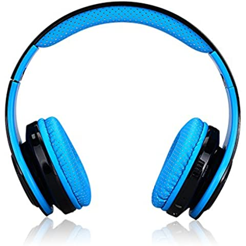 Excelvan Cuffie LED Stereo Senza Fili Bluetooth Headphones Regolabili Classic,Radio FM/TF per iPhone,Smartphone Android, PC, MP3/MP4, Telefoni Tablet BLU