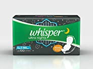 Whisper Ultra Night Sanitary Pads for Women, XXXL 10 Napkins