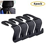 Ganci auto sedile posteriore poggiatesta, - Appendiabiti borsetta borsa Grocery bag Holder (set of 4) (nero)