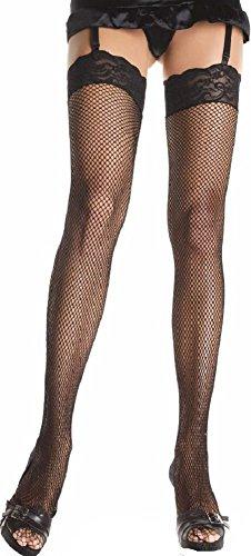 Leg Avenue plus size Damen Netz Strapsstrümpfe in schwarz transparent Einheitsgröße ca. 42 bis 44 -