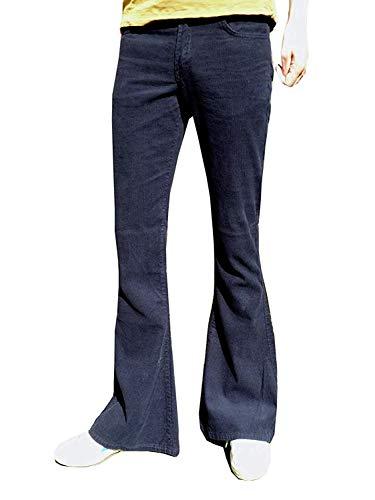 Fuzzdandy Herren Bell Bottoms Schlaghosen Hosen Ausgestellte Hosen Marineblau Cord Indie Hippie - Marineblau, 34