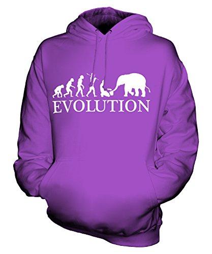 Candymix Elefant Pfleger Evolution des Menschen Unisex Herren Damen Kapuzenpullover, Größe Medium, Farbe Violett (Keeper Kostüm Herren Zoo)