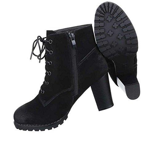 Damen Stiefeletten Schuhe Wildleder Boots Used Optik Schwarz Grau 36 37 38 39 40 41 Schwarz
