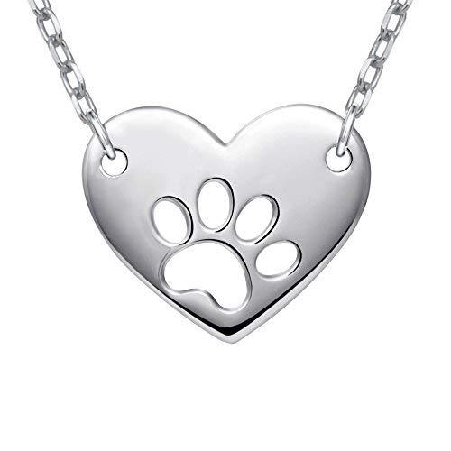 Halskette mit Anhänger für Damen von Apotie aus 925erSterlingsilber, Hundepfote, Aufdruck, Liebe, Herz, Charm-Anhänger, Kette: 45,7cm