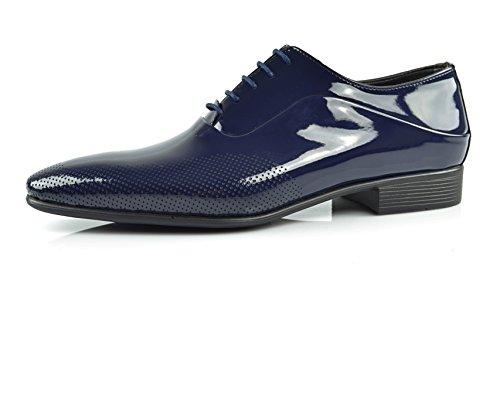 CAPRIUM Lackschuhe Derbyschuhe Schuhe Business Glänzend, Herren E1526 Schuhgröße 44, Farbe Dunkelblau (Smoking Blau 2)