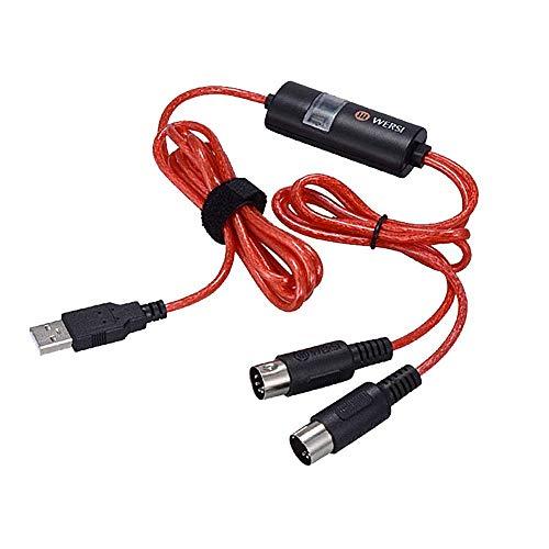USB MIDI Kabel Interface, Upgrade Professionelle Midi auf USB in-out Kabel Konverter für PC/Mac/Laptop, Kompatibel mit Windows XP, Vista, Win 7, Win 8, Win 10 und Mac OS X.