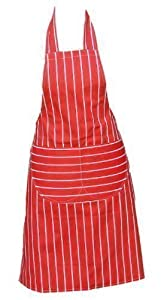 Chefs Apron Professional Quality Red & White Butchers Kitchen Cooks Restaurant Bistro BBQ School College Double POCKETS 100% Cotton