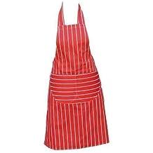 Chefs Delantal Calidad Profesional Carnicería Cocina Cooks Restaurante Bistro BBQ Colegio Instituto Doble BOLSILLOS 100% Algodón - Rojo