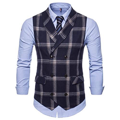 Classic Plaid Suit Vest Men Slim Fit Double Breasted Vest Waistcoat Mens Business Wedding Vest Navy 4XL -
