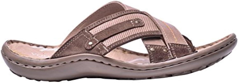 Vogar Herren Sommer Leder Flache Komfort Sandalen Strand Schuhe VG1135Vogar Schuhwerk Sandalen Anziehen VG1135