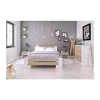 Mao Chambre Adulte Complete - Contemporain - Blanc Mat et décor Chene Sonoma - l 140 x l 190 cm