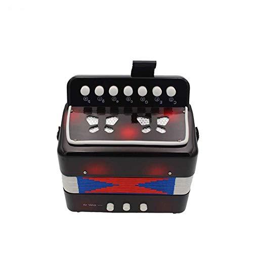Homieco Kinder Akkordeon 7-Key 2 Bass Pädagogisches Musikinstrument Rhythmus Spielzeug für den frühen Unterricht in Kindheit, Schwarz