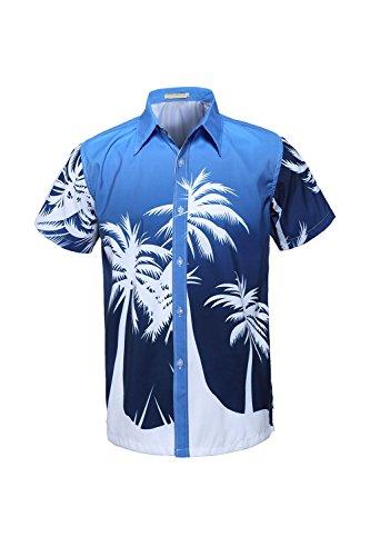 aiihemden Palme Button Ausgefranste Aloha Blues9 L (Vater Sohn Halloween Kostüm)