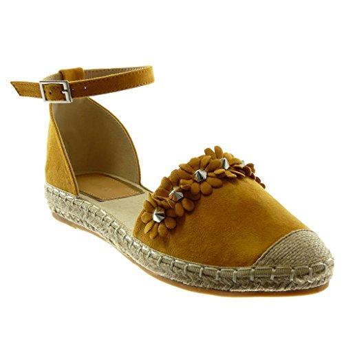 Angkorly Scarpe Moda Sandali Espadrillas con Cinturino Alla Caviglia Donna Fiori Borchiati Corda Tacco a Blocco 3 cm Senape