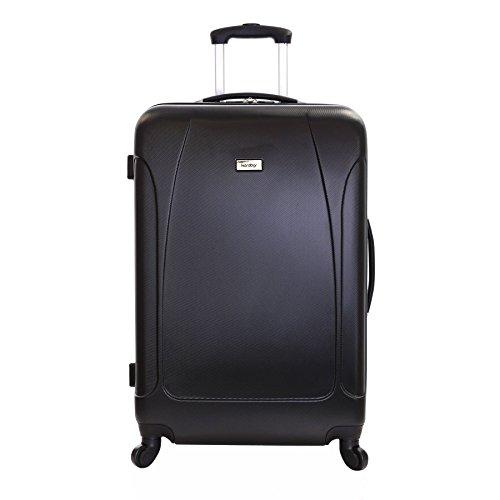 Karabar grande valigia rigida bagagli XL 76 cm 4,4 kg 100 litri con 4 ruote, Evora Nero