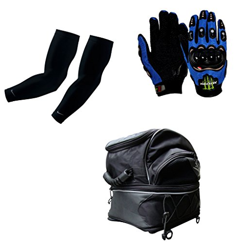 Auto Pearl Premium Quality Bike Accessories Combo Of Arm Sleeve for Protection against Sun, Dust and Pollution Black 2 Pcs. & Monster Knuckle Motorcycle/Bike Riding Gloves Blue 1 Pair. & Pro Biker Magnetic Fuel Tank Bag Motorcycle Helmet Bag with Practical Pockets Water-resistant Shoulder Bag for Driving Riding Traveling Equipment.  available at amazon for Rs.4364