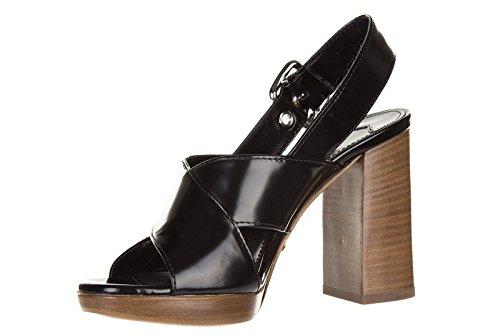 1X543FNERO Prada Sandale Femme Cuir Noir Noir