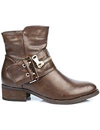 Ideal Shoes - Bottines avec ceinturon décoré d'une fermeture métalisée Gaela