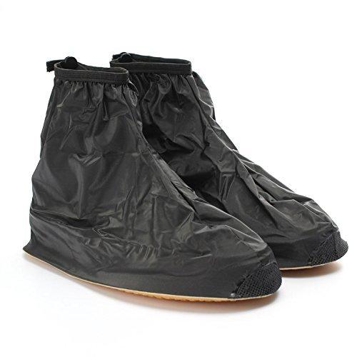 Buwico® 1paio di alta qualità impermeabile pioggia scarpe cover-Ciclo pioggia stivali piatto antiscivolo copriscarpe pioggia Gear, plastica, Black,