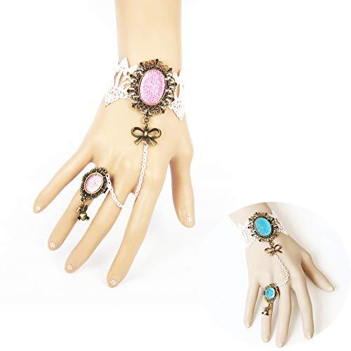 MLSJM 2Pcs Frauen Armband Ring Set, Gothic Retro White Lace Bow Bunny Armband, Handgemachte Braut Armband, Atemberaubendes Geschenk (Mensch Bunny Kostüm)
