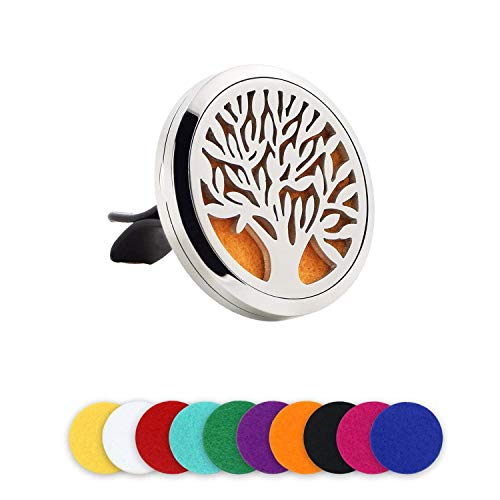 Car air freshener Essential oil diffuser Stainless steel aromatherapy locket for car air ventilation, Living room, Office table with 10 replacement felt pads