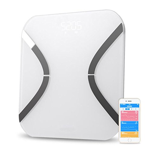 L&R Scale Intelligente Bluetooth-Körperfett-Skalen 180 Kilogramm/400 Lbs/28St, Haushalts-Digital-Gewichtsskalen Elektronische BODEN-WAAGEN Unterstützung Bluetooth APP