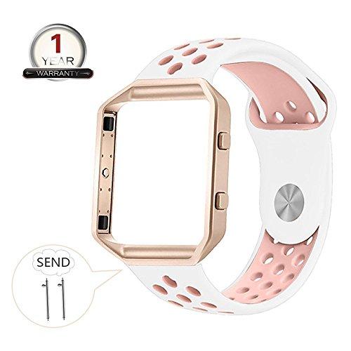 Fitbit Blaze Armband Silikon mit Rahmen, Große atmungsaktive Sport Ersatzband mit Silber Metallgehäuse für Smart Fitness Watch Damen Herren (Weiß / Pink Große)