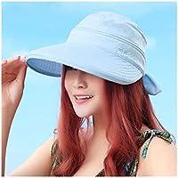 Fengdp Sombra Sólido Coreana al Aire Libre del Verano del Estilo del Bowknot de Viaje Playa de Las Damas Senderismo Sun del Casquillo del Sombrero Plegable práctica Viseras Moda niña (Color : Blue)