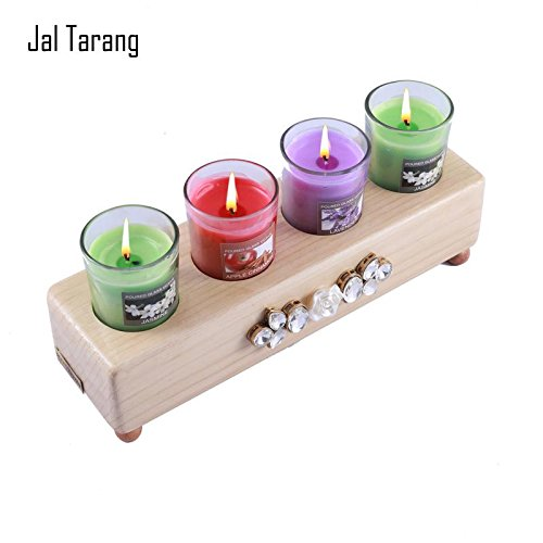 [Sponsored]Jal Tarang - Handmade Wooden Fragrance Candle Holder / Glass Light Candle Holder / Glass Light Diya Holder Stand With Multicolour Tealight Candles Holder - Best For Gift, Décor And Festivals