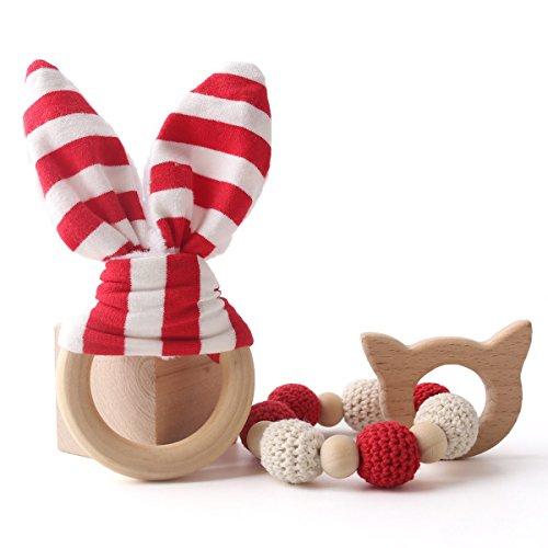 baby tete Baby Teether Toy Dentition pour bébés Baby Rattle Safe Anneau en bois Bagues en bois en dentier Bunny Ear 1set / 2pc Sensory Baby Gym Toy Shower Gifts