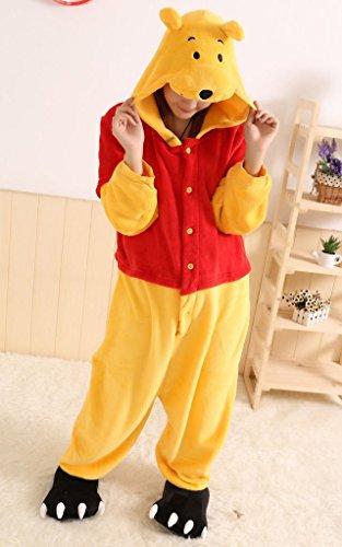Winnie the Pooh Fernsehcharakter Unisex-Einteiler, Kostüm mit Kapuze, - Pooh Pyjama Kostüm