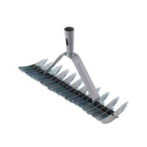 Xclou Vertikutierer Manuell - Rasenlüfter für Garten - Moosentferner Breit mit 32 Klingen - Rechen mit konischer Stieldülle - Handvertikutierer aus Metall -
