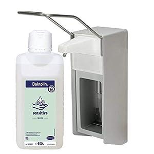 500 ml Wandspender Eurospender Spender Aluminium gebürstet von Medi-Inn + 500 ml Zubehör
