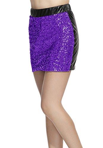 Lotus Instyle Damen Kunstleder Rock vorne mit Pailletten Mini Rock Purple
