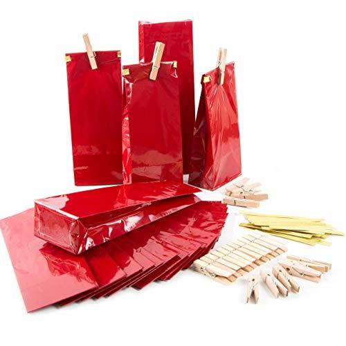 Logbuch-Verlag 25 kleine rote Blockbodenbeutel + Clips + Klammern Papiertüten Papierbeutel mit Boden 7 x 4 x 20,5 cm Verpackung Lebensmittel Mitgebsel Tee
