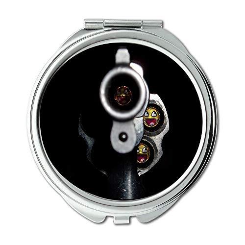 Yanteng Spiegel, kompakter Spiegel, Waffenständer, runder Spiegel, Geschoss, Taschenspiegel, tragbarer Spiegel