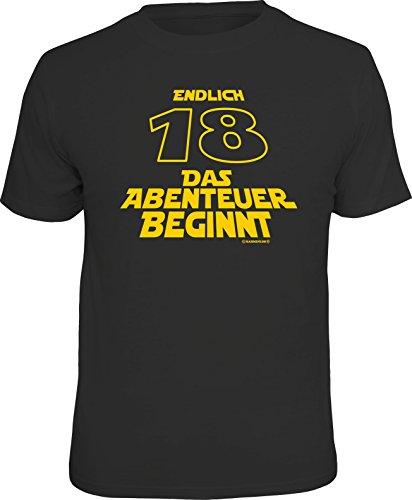 RAHMENLOS Original Geschenk T-Shirt zum 18. Geburtstag: 18 Jahre-das Abenteuer beginnt XL