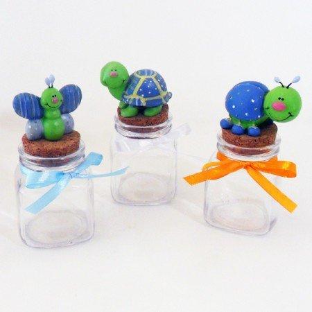 Bomboniere (2 bomboniere) animaletti celesti su barattoli quadrati in vetro