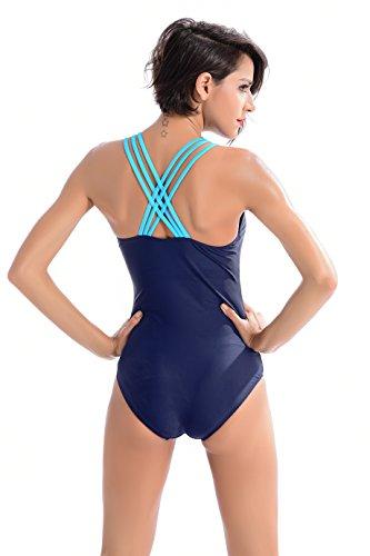 Peacoco Femme Sport Natation Solide Maillots une pièce Sexy Athlétique Dos nu Amincissante Slim Grande Taille 7003 Navy Blue
