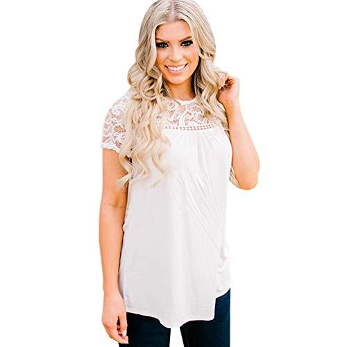 MIRRAY Damen Spitze Patchwork T-Shirt Sommer Weste Spitzenbluse Bbeiläufige Trägershirts (Weiß,M)