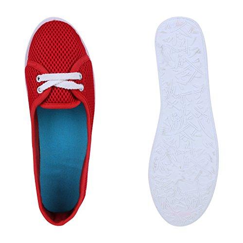Damen Schuhe Sportliche Ballerinas Rot Netz