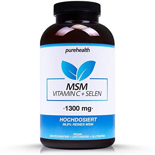 MSM Kapseln • Für Immunsystem, Knorpel- und Knochenfunktion • 365 Kapseln, 6 Monatsvorrat • 1300 mg pro Tagesdosis • +Vitamin C & Selen • 100% vegan • Bekannt aus dem TV • Made in Germany