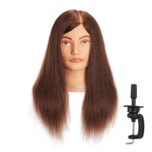 Hairginkgo 51cm - 56cm 100% Cabello Humano Maniquí de peluquería formación cabeza con libre pinza para mesa (92019D0414)