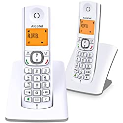 Alcatel F530 Duo - Téléphone sans fil DECT design aux coloris contemporains, Mains libres de qualité, Grand écran rétroéclairé ultra lisible, Sonneries VIP, 10 mélodies d'appel - Blanc/Gris