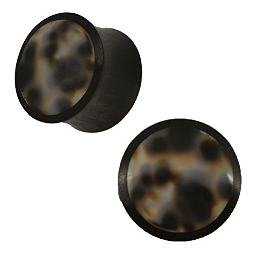 Organic Arangholz Plug Black Dots Shell Inlay bianco scuro Tribal, 18 mm, cod. HPT-348-18