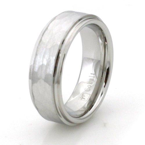 ehering gehaemmert Kostenlose Persönliche Gravur Gehämmerte Kobalt-Chrom-Ring Ehering - Größe 56 (17.8)