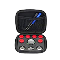 YSoutstripdu DIY Controller Joystick Trigger Buttons Thumbsticks Kits for Xbox One Elite PS4 PS4/ DualShock 4/PS4 Slim/PS4 Pro Controller accessories Red with Bag